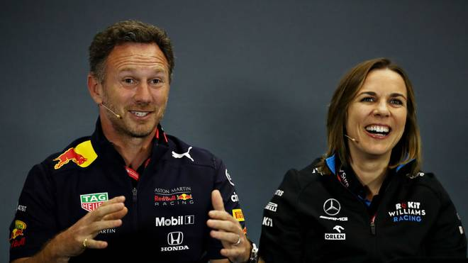 Red-Bull-Teamchef Christian Horner und die stellvertretende Williams-Teamchefin Claire Williams bei einer Pressekonferenz