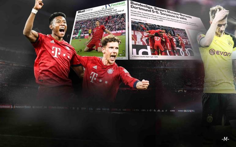 """Die internationale Presse zeigt sich beeindruckt vom Auftritt der Bayern im Topspiel. """"Das Kovac-Team präsentiert sich so hungrig wie nie in dieser Saison"""", schreibt etwa die """"Gazzetta"""". Der BVB erhält dagegen ein vernichtendes Urteil. SPORT1 fasst die Stimmen zusammen"""