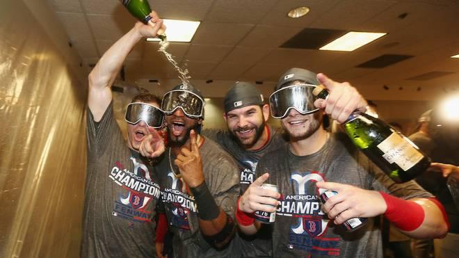 Die Boston Red Sox feiern den Einzug ins Finale