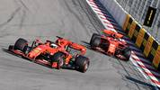 Ferrari's German driver Sebastian Vettel (L) leads ahead of Ferrari's Monegasque driver Charles Leclerc during the Formula One Russian Grand Prix at The Sochi Autodrom Circuit in Sochi on September 29, 2019. (Photo by Dimitar DILKOFF / AFP)        (Photo credit should read DIMITAR DILKOFF/AFP/Getty Images)