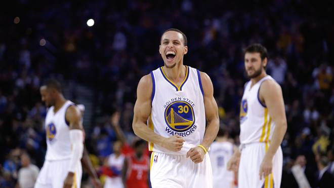 Stephen Curry bejubelt den Sieg gegen Houston