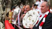 FC Bayern Muenchen Celebrate Winning Bundesliga, Champions League and DFB Cup