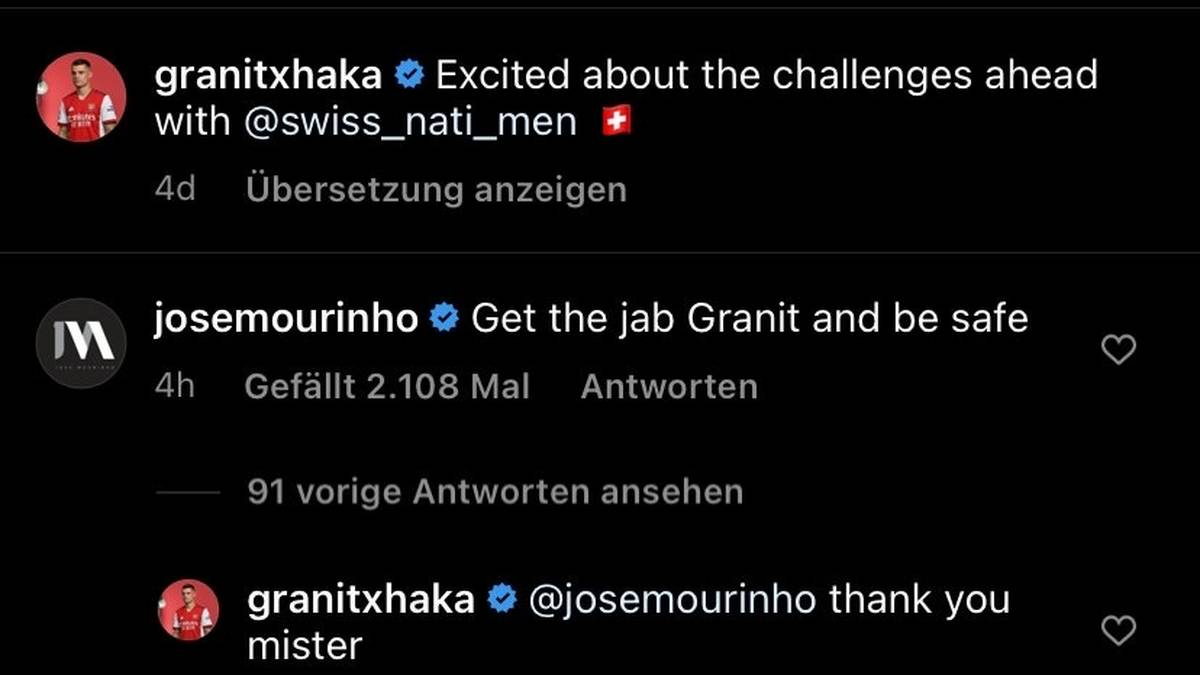 Jose Mourinho empfiehlt Granit Xhaka eine Coronaimpfung