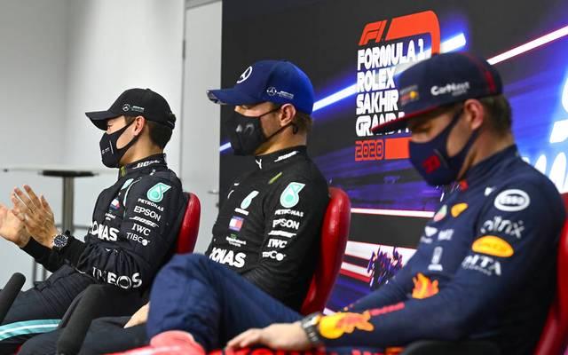 George Russell, Valtteri Bottas oder Max Verstappen (v.l.n.r.) - wer holt sich den Sieg beim Sakhir-GP?