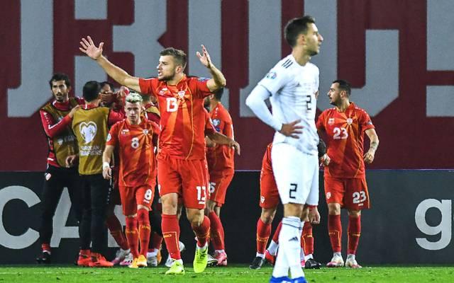 Die Spieler von Nordmazedonien schaffen den Sprung zur EM