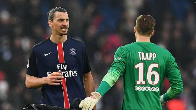 Kevin Trapp spricht über seine Zeit mit Zlatan Ibrahimovic bei PSG , Zlatan Ibrahimovic (links) und Kevin Trapp spielten zusammen bei Paris Saint-Germain