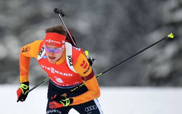 Germany's Benedikt Doll competes in the men 12,5 km pursuit of the IBU Biathlon World Cup in Ruhpolding, southern Germany, on January 19, 2020. (Photo by Christof STACHE / AFP) (Photo by CHRISTOF STACHE/AFP via Getty Images)