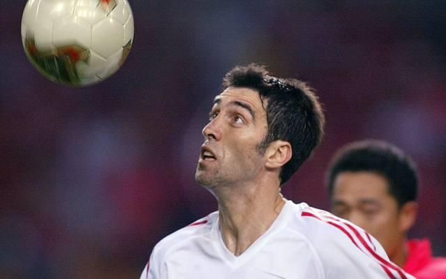 Turkish forward Hakan Sukur is seen in action agai