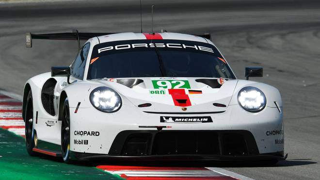 BARCELONA, SPAIN - JULY 24: The #92 Porsche GT Team, Porsche 911 RSR - 19 of Michael Christensen of Denmark and Kevin Estre of France in action during the second session of the FIA WEC Prologue at the Circuit de Catalunya on July 24, 2019 in Barcelona, Spain. (Photo by David Ramos/Getty Images)
