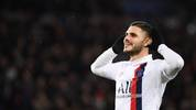 Paris Saint-Germain's Argentine forward Mauro Icardi celebrates scoring his team's first goal during the UEFA Champions League Group A football match between Paris Saint-Germain (PSG) and Galatasaray at the Parc des Princes stadium in Paris on December 11, 2019. (Photo by FRANCK FIFE / AFP) (Photo by FRANCK FIFE/AFP via Getty Images)