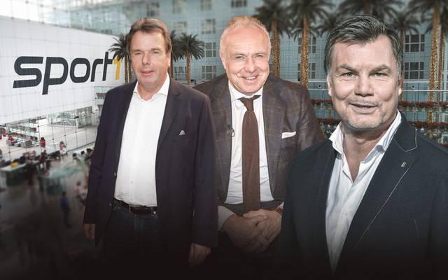 Zu Gast bei Thomas Helmer (r.) sind u.a. Heribert Bruchhagen (l.) und Michael Rummenigge