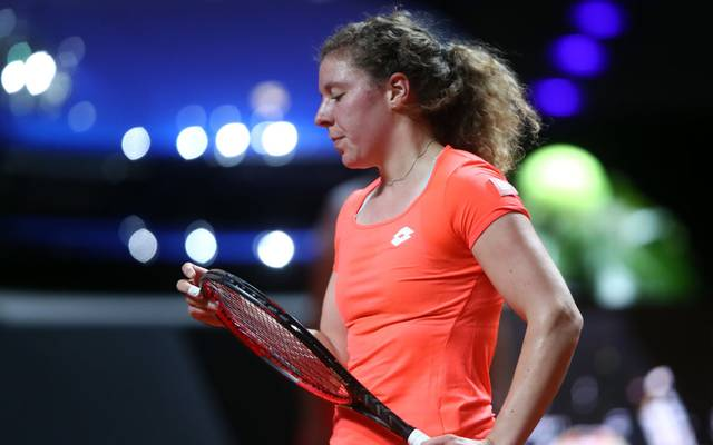 STUTTGART, GERMANY - APRIL 23: Anna-Len Friedsam of Germany reacts during her first round match against Kiki Bertens of Netherlands on day 2 of the Porsche Tennis Grand Prix at Porsche-Arena on April 23, 2019 in Stuttgart, Germany. (Photo by Alex Grimm/Getty Images)