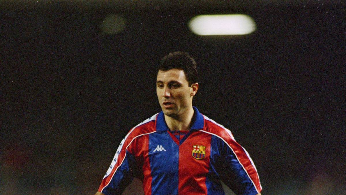 Bulgarian striker Hristo Stoichkov playing for the Spanish club FC Barcelona, late 1990s. (Photo by Mike Hewitt/Getty Images)