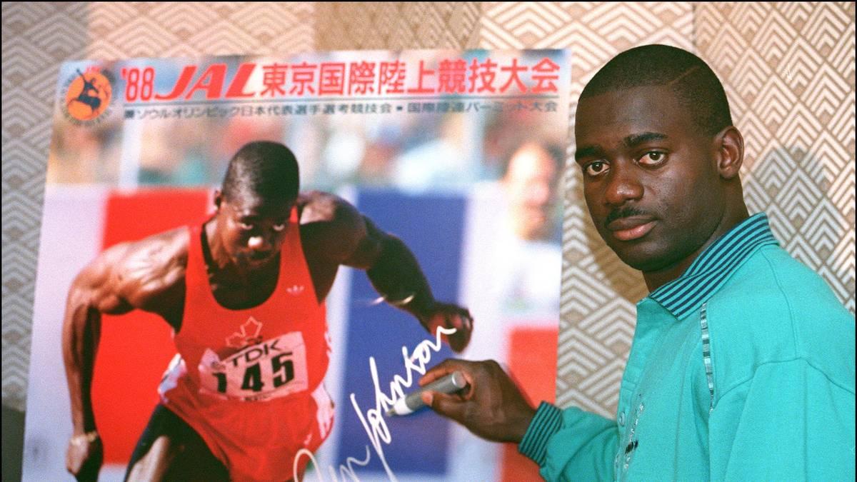 Jamaican-born Canadian Ben Johnson sign