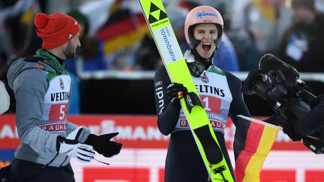 Karl Geiger bereitet Bundestrainer Stefan Horngacher bislang viel Freude bei der Vierschanzentournee