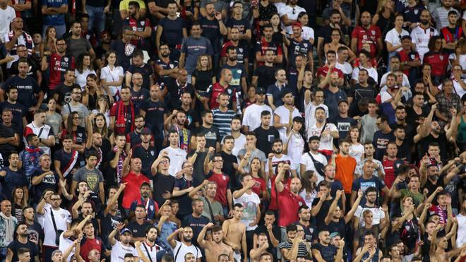 CAGLIARI, ITALY - AUGUST 25: the supporters of Cagliari   during the Serie A match between Cagliari Calcio and Brescia Calcio at Sardegna Arena on August 25, 2019 in Cagliari, Italy.  (Photo by Enrico Locci/Getty Images)