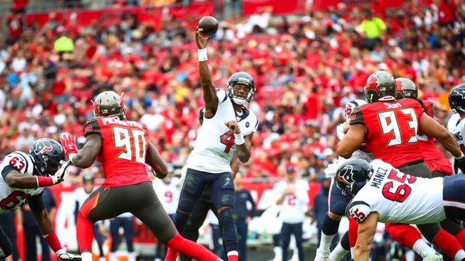 TAMPA, FL - DECEMBER 21: Deshaun Watson #4 of the Houston Texans passes the ball during the first half against the Tampa Bay Buccaneers on December 21, 2019 at Raymond James Stadium in Tampa, Florida. (Photo by Will Vragovic/Getty Images)