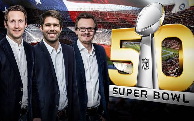 Für SPORT1 beim Super Bowl vor Ort: Florian Weiß, Tobias Wahnschaffe, Julian Ignatowitsch (v.l.)