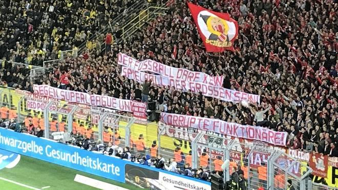 Auch die Bayern-Fans in Dortmund protestierten noch einmal gegen die Super League