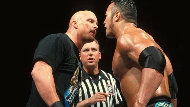 Stone Cold Steve Austin (l.) und The Rock waren bei WWE große Rivalen