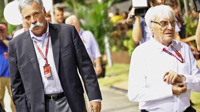 Chase Carey (l.) löst Bernie Ecclestone ab