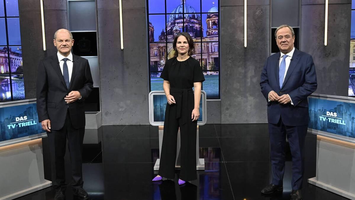 Annalena Baerbock kandidiert neben Olaf Scholz (l.) und Armin Laschet um das Kanzleramt