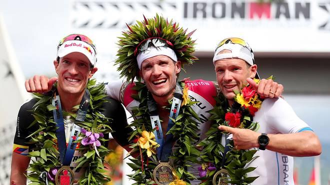 Der deutsche Dreifachsieg 2016 bei der Ironman WM auf Hawaii (v.l.): Sebastian Kienle Jan Frodeno, Patrick Lange