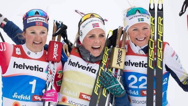 Ingvild Flugstad Oestberg, Therese Johaug und Frida Karlsson (v.l.n.r.)