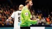 Germany's goalkeeper Andreas Wolff reacts after saving a penalty during the Men's EHF 2020 Handball European Championship preliminary round match between Germany and Netherlands in Trondheim, Norway on January 9, 2020. (Photo by Ole Martin Wold / NTB Scanpix / AFP) / Norway OUT (Photo by OLE MARTIN WOLD/NTB Scanpix/AFP via Getty Images)