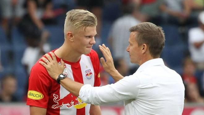 Erling Haaland und Salzburg-Trainer Jesse Marsch