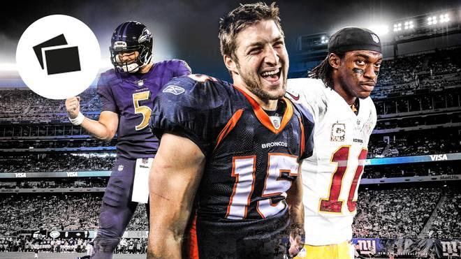 Joe Flacco, Tim Tebow und Robert Griffin III (v.l.) glänzten in ihrer NFL-Karriere nur kurz