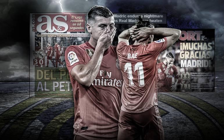 Real Madrid geht beim FC Sevilla 0:3 unter und kassiert damit die erste deftige Niederlage unter Julen Lopetegui. Die Zeitungen halten sich mit Kritik nicht zurück. Auch Toni Kroos wird angezählt. SPORT1 zeigt Pressestimmen zum Real-Desaster