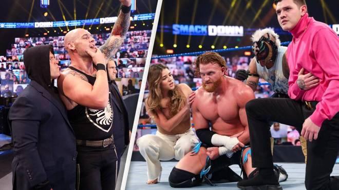 King Corbin (2.v.l.) rekrutierte bei WWE SmackDown Wesley Blake und Steve Cutler