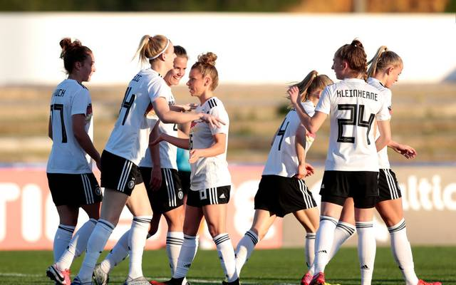 LAGOS, PORTUGAL - MARCH 7: Johanna Elsig and Linda Dallmann of Germany celebrate a goal for Germany during the Germany v Norway, Algarve Cup match at Estadio Municipal Fernando Cabrita on March 7, 2020 in Lagos Portugal. (Photo by Filipe Farinha/Getty Images for DFB)