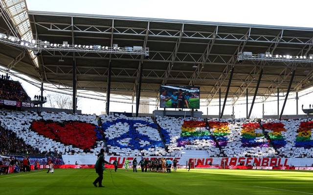 Leipzig's supporters cheer prior to the German first division Bundesliga football match RB Leipzig v Bayer Leverkusen, in Leipzig, eastern Germany on March 1, 2020. (Photo by Ronny Hartmann / AFP) / RESTRICTIONS: DFL REGULATIONS PROHIBIT ANY USE OF PHOTOGRAPHS AS IMAGE SEQUENCES AND/OR QUASI-VIDEO (Photo by RONNY HARTMANN/AFP via Getty Images)