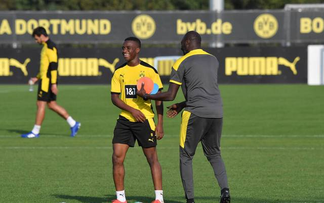 Youssoufa Moukoko (l.) und Otto Addo arbeiten eng zusammen
