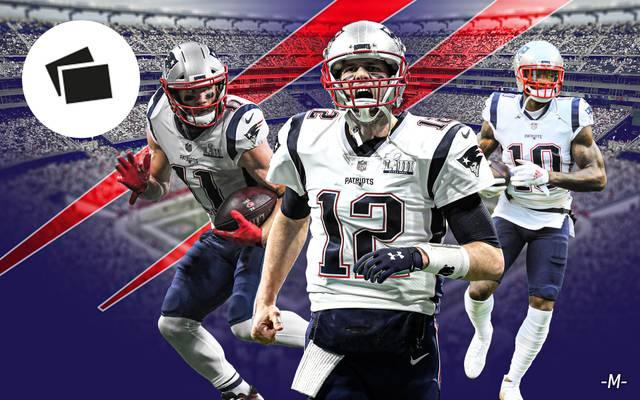 Die New England Patriots von Tom Brady (M.) gehen als Titelverteidiger in die NFL-Saison
