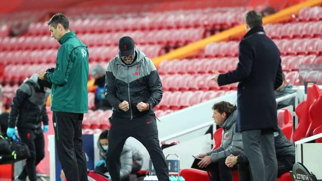 Jürgen Klopp jubelt über das 1:0 für Liverpool gegen Midtjylland