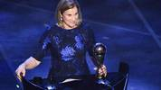 USA head coach Jill Ellis speaks after winning the trophy for the Best FIFA Women's Coach of 2019 Award during The Best FIFA Football Awards ceremony, on September 23, 2019 in Milan. (Photo by Marco Bertorello / AFP)        (Photo credit should read MARCO BERTORELLO/AFP/Getty Images)