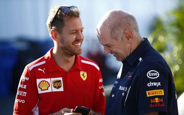 2018 Canadian GP CIRCUIT GILLES-VILLENEUVE, CANADA - JUNE 09: Sebastian Vettel, Ferrari, with Adrian Newey, Chief Technical Officer, Red Bull Racing during the Canadian GP at Circuit Gilles-Villeneuve on June 09, 2018 in Circuit Gilles-Villeneuve, Canada. (Photo by Andy Hone LAT Images) 1015305894 Images) PUBLICATIONxINxGERxSUIxAUTxHUNxONLY _ONY3414