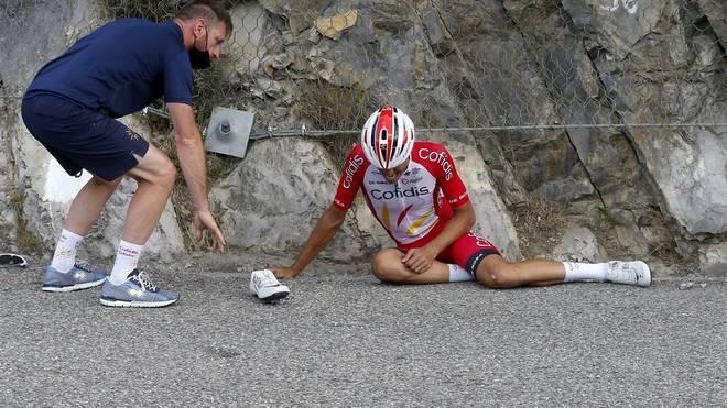 Anthony Perez stürzte auf der 3. Etappe in einer Abfahrt