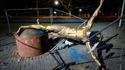 The staue of Swedish football player Zlatan Ibrahimovic in Malmo, Sweden, is pictured after it has been completly sawn down and destroyed during the night to January 5, 2020. - The statue has been the target of vandalism since the star has announced his part ownership in football club Hammarby, a team rivalling with Malmo FF (MFF) -- the club where Ibrahimovic started his professional career in 1999. (Photo by Johan NILSSON / TT News Agency / AFP) / Sweden OUT (Photo by JOHAN NILSSON/TT News Agency/AFP via Getty Images)