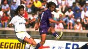 Gabriel Batistuta of Fiorentina and Fernando Louto of Parma