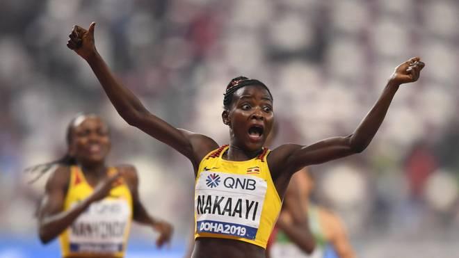 Sie konnte es selbst kaum glauben: Halimah Nakaayi gewinnt bei der Leichtathletik-WM in Doha das Finale über 800 Meter
