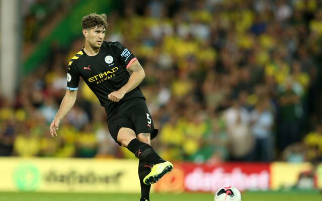 NORWICH, ENGLAND - SEPTEMBER 14: John Stones of Manchester City during the Premier League match between Norwich City and Manchester City at Carrow Road on September 14, 2019 in Norwich, United Kingdom. (Photo by Paul Harding/Getty Images)