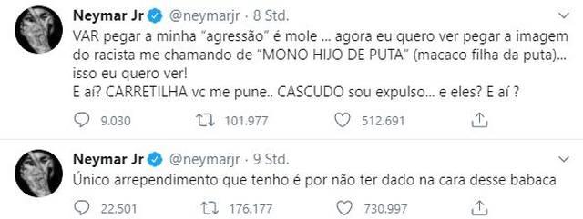 Neymar übte heftige Vorwürfe bei Twitter