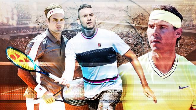 Nick Kyrgios (M.) benutzte den Unterarm-Service bereits gegen Rafael Nadal (r.)