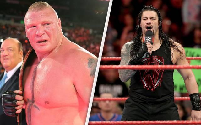 Brock Lesnar (l.) trifft bei WWE WrestleMania 34 auf Roman Reigns