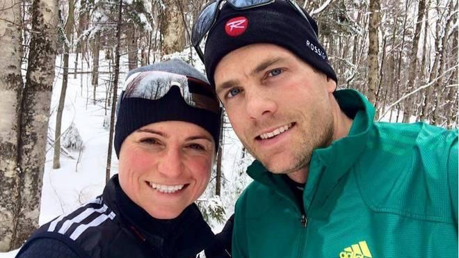 Andrea Henkel  und ihr Mann Tim Burke haben immer noch Spaß an verschneiten Winterlandschaften