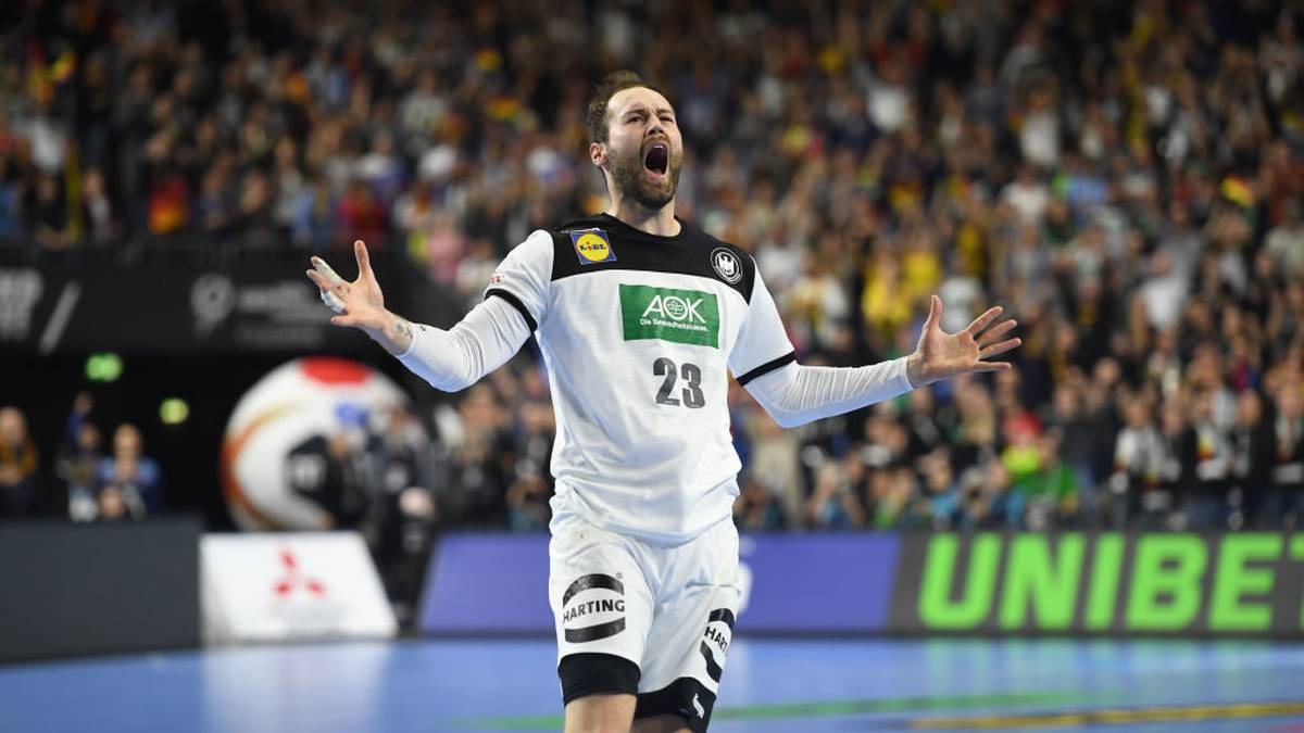 Germany's Steffen Faeth reacts during the IHF Men's World Championship 2019 Group I handball match between Germany and Iceland at the Lanxess arena in Cologne, on January 19, 2019. (Photo by Patrik STOLLARZ / AFP)        (Photo credit should read PATRIK STOLLARZ/AFP via Getty Images)